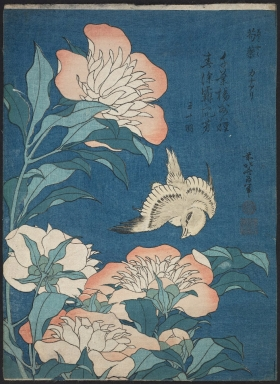 Katsushika Hokusai, Shakuyaku, kanaari (c. 1834). Museum of Fine Arts, Boston
